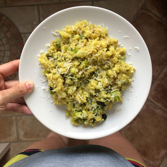 Quinoa con espárragos verdes